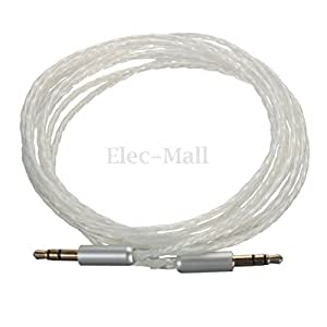 Car Aux Stereo Male to Male Audio PTFE Silver Plated Cable - Length:2.5M