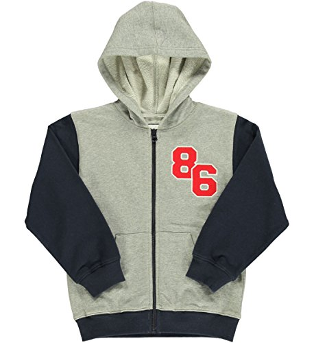 Kitestrings Little Boys Colorblock Zip Up Hoodie Heather Grey 4