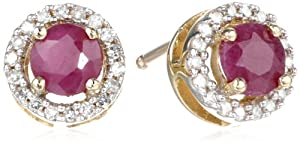 10k Gold and Round Gemstone Diamond-Framed Stud Earrings by Andin International
