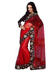 Prafful Net Saree With Unstitched Blouse - B00KNUJEU4