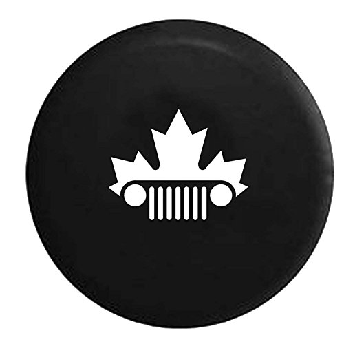 jeep-wrangler-jk-tj-grill-canadian-maple-leaf-mountie-spare-tire-cover-oem-vinyl-black-30-31-in
