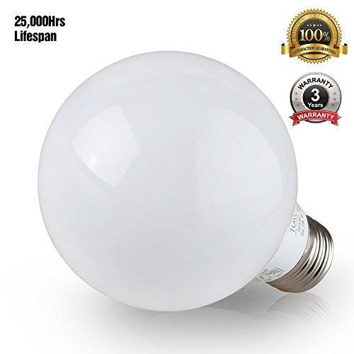 G25 Globe LED Light Bulb, 5W (40W Equiv.), 360° Uniform Light ENERGY STAR, Damp Location Available, 5000K Daylight Vanity Bulb for Pendant, Bathroom, Dressing Room Decorative Lighting, Pack of 6