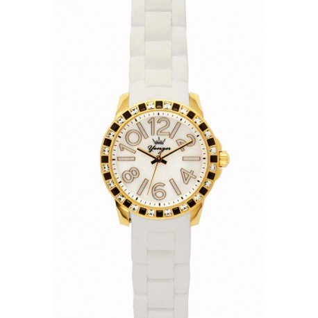 Yonger & Bresson DSP-1495-33 - Orologio da polso, poliuretano, colore: bianco