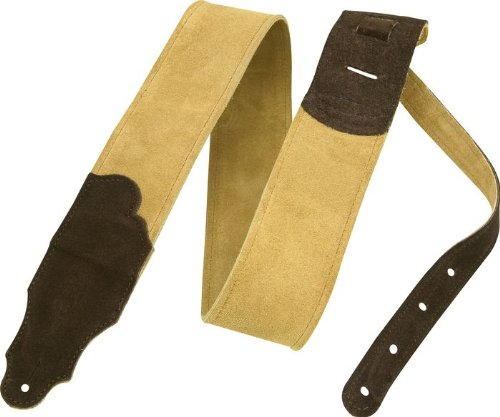 Franklin Strap 2 5 Honey Suede Guitar Strap with Chocolate Ends