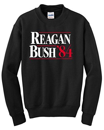 Hot Ass Reagan Bush 84' Presidential Campaign Parody Crewneck Black MEDIUM (Bush Campaign compare prices)