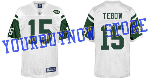 NFL Gear - Tim Tebow #15 New York Jets 2012 NFL Jersey White Football Jerseys Size 50 (Logos, Name, Number are sewn)