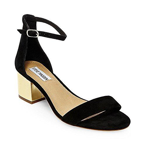 Steve Madden Women's Irenee-G Dress Sandal, Black Suede/Gold, 8 M US