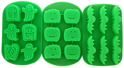 Le Juvo Halloween Silicone Molds - Pumpkins, Ghosts, And Bats, 3 Piece - Green