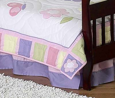 Pink and Purple Butterfly Bed Skirt for Crib and Toddler Bedding Sets by JoJo Designs
