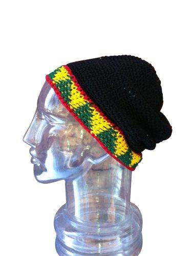 Hand Made Cotton Fold Up Brim Hat,Rasta Reggae Toboggan Warm Winter Ski Cap front-464639