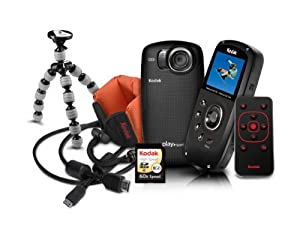 Kodak PlaySport (ZX5) Waterproof Pocket Video Camera Bundle (Includes Remote Control, Tripod, Memory Card, HDMI Cable, and Floating Wrist Strap) - Black Bundle (2nd Generation)