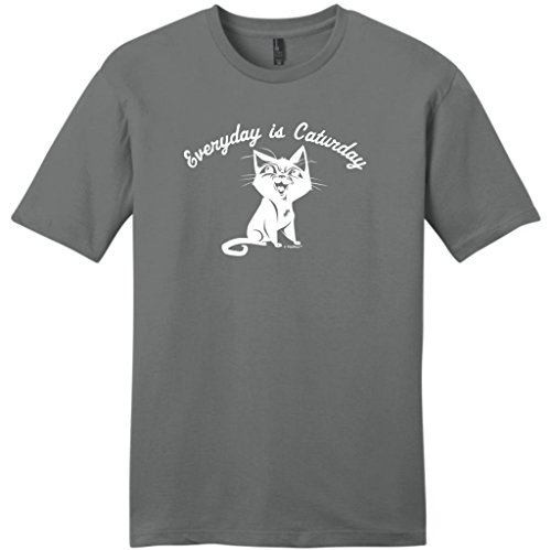 Every Day Is Caturday, Cat Humor Young Mens T-Shirt Medium Grey