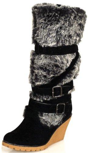 Designer Knee-High Faux Fur Women's BLACK Winter Wedge Platform Pull-on Boots
