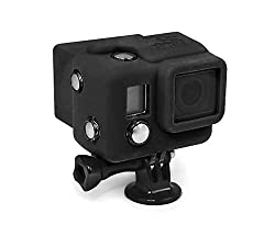 XSories Hooded Silicone Cover For All GoPro HERO3+ and 4 Camera Models With Viewer or BacPac (Black)