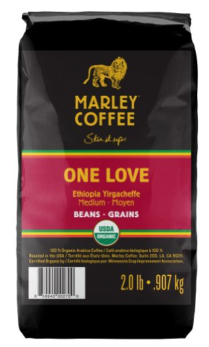 Marley Coffee, Organic Whole Bean Coffee, One Love, 2 Pound (Amazon Coffee Beans compare prices)