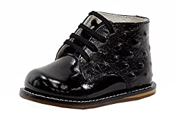 Josmo Infants\' 8190 Ostrich Booties,2 M US Infant,Black/Black Ostrich