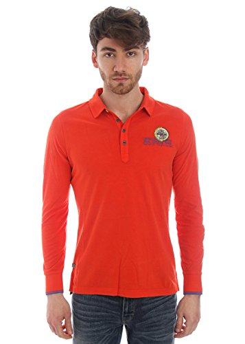 Napapijri-Polo in cotone con stampa logo - rosso-Male-4794624