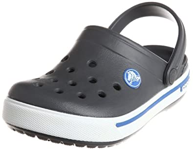 Crocs Crocband II.5, Unisex-Child Clogs, Charcoal/Sea Blue, 1 UK