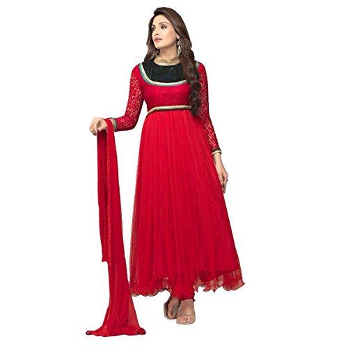 Lavri New Collection Net, Brasso Designer Red Anarkali Suits