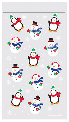 Snow Friends - Christmas Zipper Cello Treat Bags - 9in. x 5in. - 12/Pack