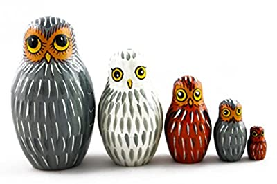 Matryoshka Matrioska Babuska Russian Nesting Wooden Doll Owl Filin 5 Pcs Stacking Hand Painting Beautiful Nested Craft Matriosjka Matrioska Matreshka Matrjoska Matroeska