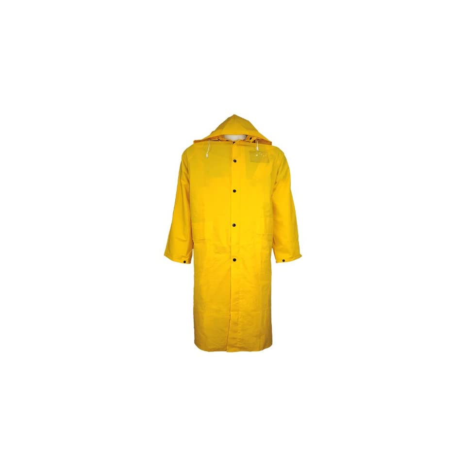 Global Glove RCB89 PVC Raincoat with Detachable Hood and Badge Holder, 49 Length, 2X Large, Yellow (Case of 12)