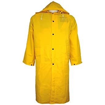 "Global Glove RCB89 PVC Raincoat with Detachable Hood and Badge Holder, 49"" Length, Extra Large, Yellow (Case of 12)"