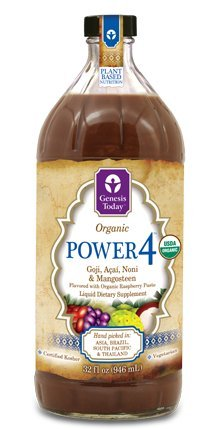 Power4 100% Goji, Acai, Noni & Mangosteen Berry Juice Supplement ~ All 4 Power JUICES in 1 ~ by Genesis Today - 32oz Bottle (Genesis Today Goji Juice compare prices)