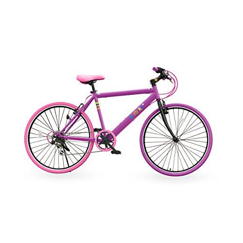 Airbike クロスバイク 自転車 26インチタイヤ (パープル×ピンク)