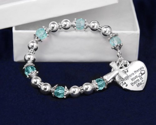 Religious Bracelet-Where There Is Love Teal (18 Bracelets)