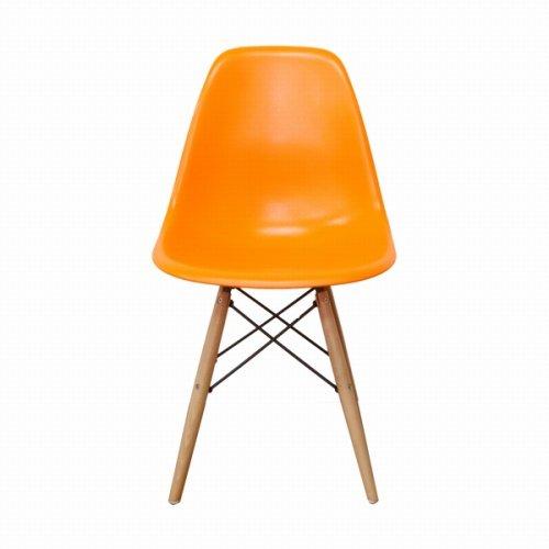Eames イームズチェア サイドシェルチェアDSW(ダイニング・サイドチェア・ウッドベース)【オレンジ/橙色(だいだい色)】