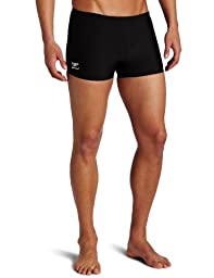 Speedo Men\'s Endurance+ Polyester Solid Square Leg Swimsuit, Black, 30