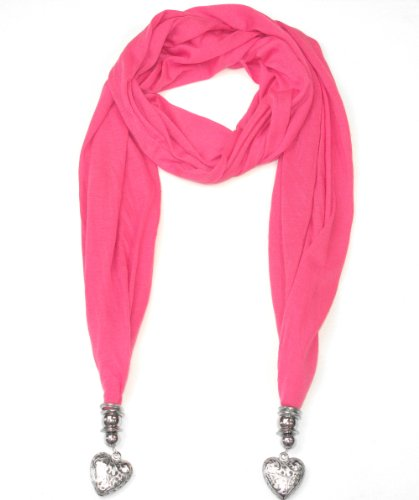 Women's Pink Scarf  Beautiful Heart Pendants-Perfect