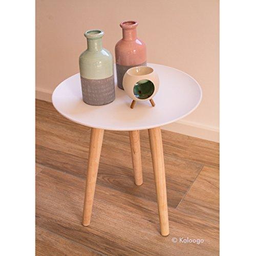 Beistelltisch Mika dreibeinig Couchtisch Telefontisch Sofatisch Design Holz Tisch (weiß)