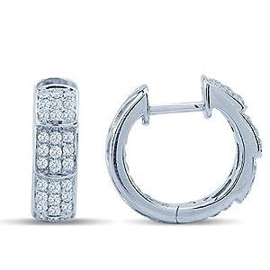 Diamond Huggie Earrings In 14K White Gold