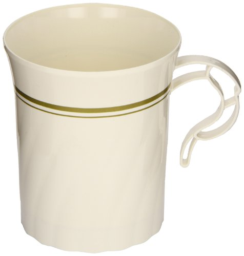 Masterpiece CWM8192IPREM 8 oz Ivory Color Premiere Plastic Coffee Mug with Gold Print (24 Packs of 8)