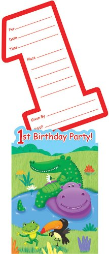 Creative Converting Jungle Buddies First Birthday Party Invitations, 8 Count