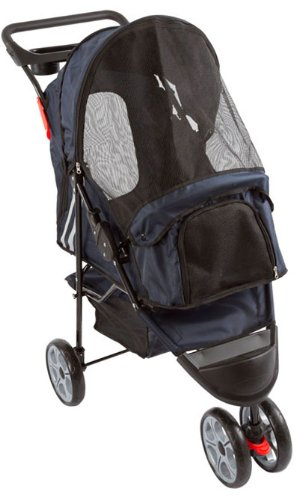 Dark Blue 3-Wheel Trail Terrain Pet Stroller Jogger front-946641