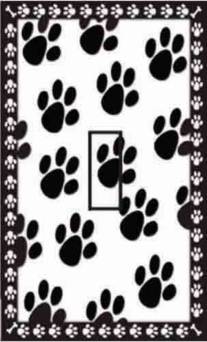Dog Paw Prints Single Toggle SwitchStix Peel and Stick Switch Plate Cover Décor