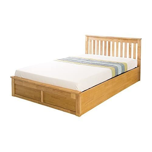 Como Wooden Ottoman Storage Bed - Oak or White - 4ft6 Double or 5ft Kingsize (Oak, Kingsize 5ft)