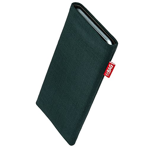 fitBAG Rave Green custom tailored sleeve for Elephone P9000 Helio. Fine suit fabric pouch with integrated MicroFibre lining for display cleaning