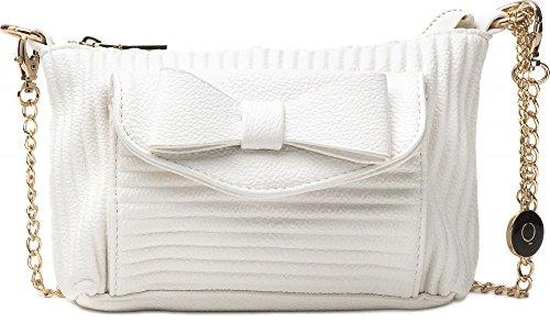 MASQUENADA, borsa da donna, Borsetta, Pochette, Borsa a tracolla, 20,5x14,5x2,5cm (LxHxP),Colore:Bianco