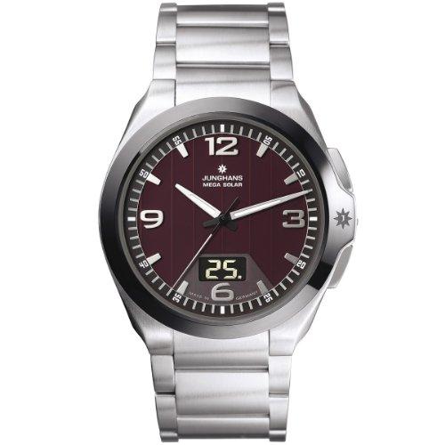 Junghans 018/1121.44 - Reloj analógico y digital de cuarzo para hombre con correa de acero inoxidable, color plateado