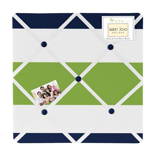 Navy Blue, Lime Green And White Fabric Memory/Memo Photo Bulletin Board For Stripe Collection front-77200