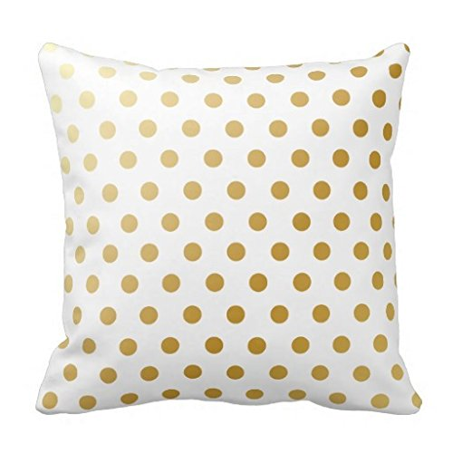 CottonHouse Polka Dots Pattern Pillowcase Throw Cushion Cover Gold White