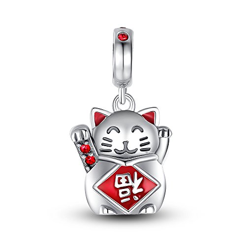 Glamulet Art Women's 925 Sterling Silver Crystal Lucky Cat Bead Charm Fits Pandora Bracelet (Carpet Runner For Step Bracket compare prices)