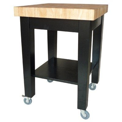 Cheap Dining Essentials Kitchen Island with Casters Finish: Black / Natural (B008PYE8NS)