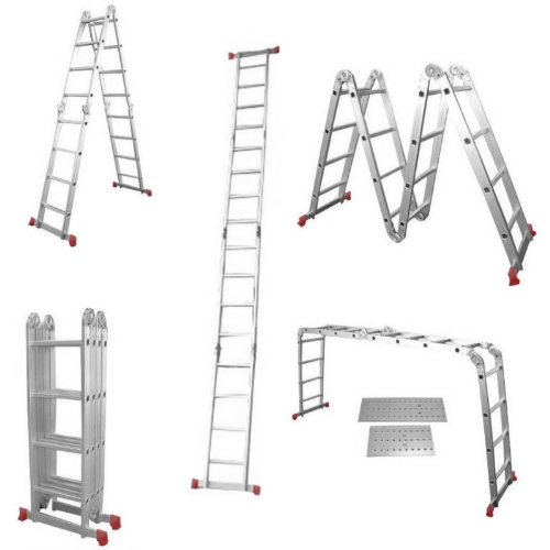 NEW TRUESHOPPING® SUPERIOR 'RED FOOT' LARGE MULTI PURPOSE LADDER 4.75M (15.7FT) 16 RUNG INC. 2 FREE STEEL PLATFORMS  &  EXTRA STRONG GRIP FEET