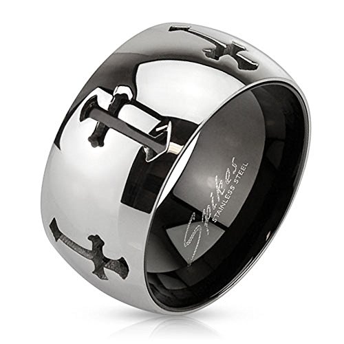 11Mm High Polish Finish Laser Cut Multiple Cross Two Tone Stainless Steel Wedding Band - Size 11