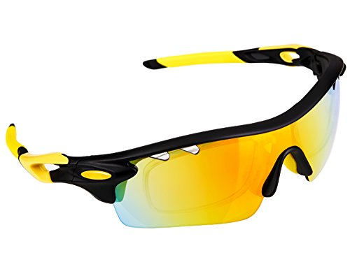 Polarized Sports Sunglasses, Poshei P01 Outdoor Sun Glasses with 5 Interchangeable Lenses for Men Women Baseball Cycling Fishing Golf (Black&Yellow) (Sun Glasses Outdoor Sports compare prices)